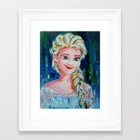 frozen elsa Framed Art Prints featuring Elsa Frozen by Diptimayee Nayak