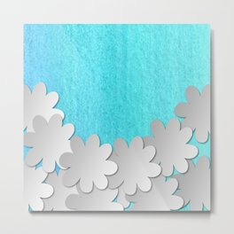 watercolor floral in blue dp033-5 Metal Print