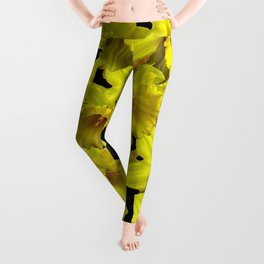 YELLOW SPRING KING ALFRED DAFFODILS ON BLACK Leggings