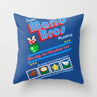 mario bros Throw Pillows featuring Super Mario Bros Plumbing by brit eddy