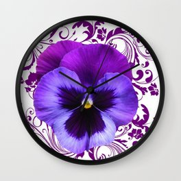 LILAC PURPLE PANSY SPRING FLORAL PATTERN Wall Clock