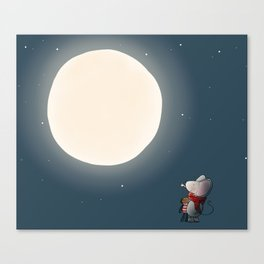 Little Mouse - Full Moon Canvas Print