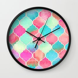 Watercolor Moroccan Patchwork in Magenta, Peach & Aqua Wall Clock