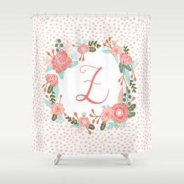 Monogram Z - cute girls coral florals flower wreath, coral florals, baby girl, baby blanket Shower Curtain
