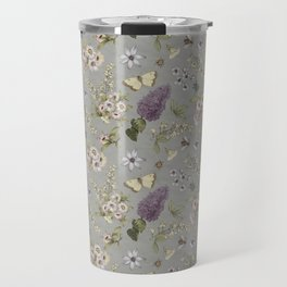 spring flowers with butterfly and beetles I Travel Mug
