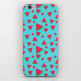 Watermelon on turquoise iPhone Skin
