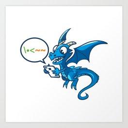 Dragon Texting Art Print