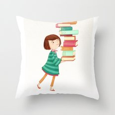 Library Girl 3 Throw Pillow