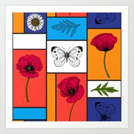 Poppies in colorful boxes Art Print