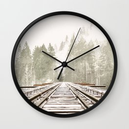 Railway in the forest Wall Clock