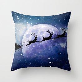 Santa Claus Reindeer Christmas Night Moon Throw Pillow