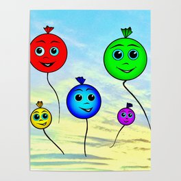Happy colorful balloons flying in the sky Poster