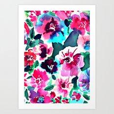 Zoe Floral Pink Art Print