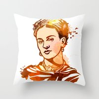frida kahlo Throw Pillows featuring FRIDA KAHLO by BIG Colours