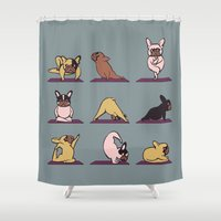 frenchie Shower Curtains featuring Frenchie Yoga by Huebucket