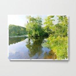 Lake Watercolor Metal Print
