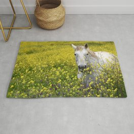 White Horse in a Yellow Pasture Rug