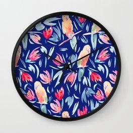 Watercolour Tropical Birds Wall Clock