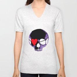 Purple skull with heart eyepatch Unisex V-Neck