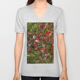 Dangling Red Tree Art Unisex V-Neck