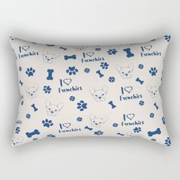 Cute ivory navy blue love Frenchie bulldog typography Rectangular Pillow