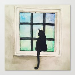 Cat Sitting in the Window Canvas Print