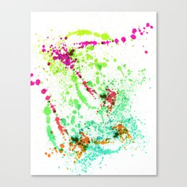Screamin' Green - Abstract Splatter Style Canvas Print
