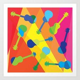 ukulele pattern Art Print