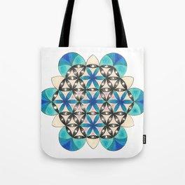 Blue Flower of Life Mandala Tote Bag