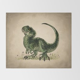 """Baby T-Rex"" by Amber Marine ~ watercolor and ink, (Copyright 2013) Throw Blanket"