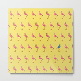 Flamingo Fiesta (Mustard) Metal Print