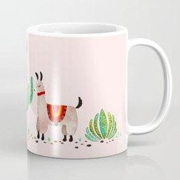 Cute alpacas with pink background Coffee Mug