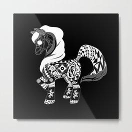 black pony horse ecopop Metal Print