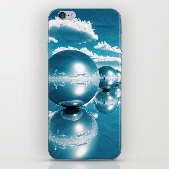 blue spheres in line paper iPhone & iPod Skin