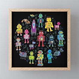 Robots in Space - on black Framed Mini Art Print