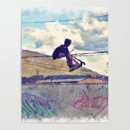 Graffitti Glide Stunt Scooter Sports Artwork Poster
