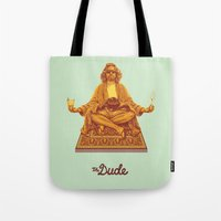 lebowski Tote Bags featuring The Lebowski Series: The Dude by Bubblegun