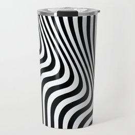 Optical Art - Blac kand White - Monochrome - Liquid  - art, interior, drawing, decor, design, bauhau Travel Mug