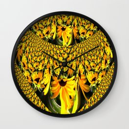 Sunflower Lace Fractal Wall Clock