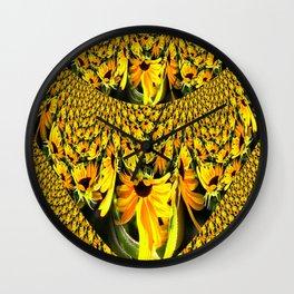 Sunflower Lace Fractal Wall Clock