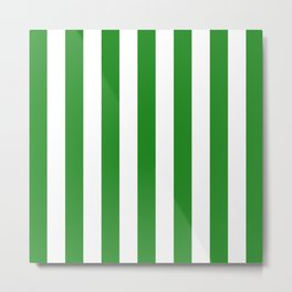 Vertical Stripes (Forest Green/White) Metal Print