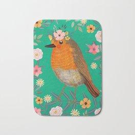 Robin Bird with flowers Bath Mat
