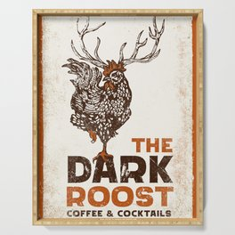 """""""The Dark Roost Coffee & Cocktails"""" Cool Retro Coffee Shop Design Serving Tray"""