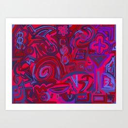Red blue symbols Art Print