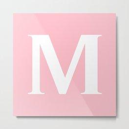 M MONOGRAM (WHITE & PINK) Metal Print