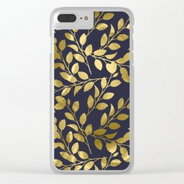 Gold Leaves on Navy Clear iPhone Case