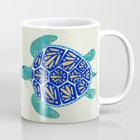 sea turtle Mugs featuring Sea Turtle by Cat Coquillette