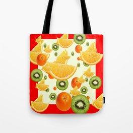 ORANGES & KIWI FRUIT  RED COLLAGE PATTERN Tote Bag