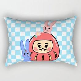 Embracing the Daruma (with blue little windows) Rectangular Pillow
