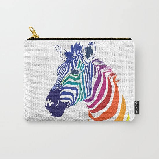 Rainbow Zebra Colorful Animals Whimsical Art Carry-All Pouch
